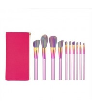 10 pcs Column Handle Design High Fashion Makeup Brushes Set - Rose