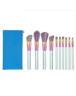 10 pcs Column Handle Design High Fashion Makeup Brushes Set - Blue