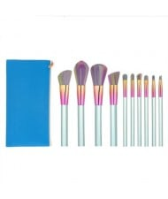 10 pcs Column Handle Design High Fashion Makeup Brushes Set - Blue