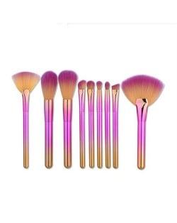 9 pcs Gradient Color Handle Fan-shape Fashion Makeup Brushes Set - Pink