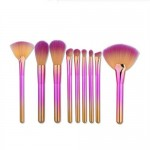 9 pcs Gradient Color Handle Fan-shape Fashion Makeup Brushes Set - Pink