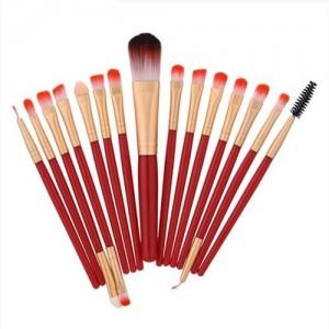 15 pcs solid plain color handle fashion makeup brushes set