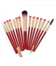 15 pcs Solid Plain Color Handle Fashion Makeup Brushes Set - Red