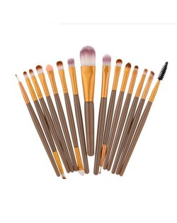 15 pcs Solid Plain Color Handle Fashion Makeup Brushes Set - Brown