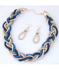Golden and Blue Dough Twist Weaving Design Fashion Costume Necklace and Earrings Set