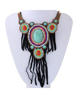 Rhinestone and Resin Gems Inlaid Cloth Tassel Design Beads Collar Necklace