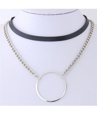 Ring Pendant Dual Layers Leather and Alloy Chain Combo Short Necklace - Silver