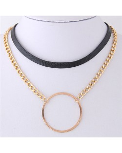 Ring Pendant Dual Layers Leather and Alloy Chain Combo Short Necklace - Golden