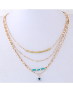Eye Ball Pendant Four Layers Golden Chain Design Costume Necklace