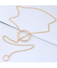Hoops Pendant Long Chain Design High Fashion Necklace