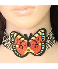 Red and Yellow Wings Butterfly Embroidery Fashion Choker Necklace