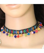 Colorful Fluffy Mini Balls Decorated Folk Fashion Choker Necklace - Black