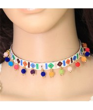 Colorful Fluffy Mini Balls Decorated Folk Fashion Choker Necklace - White