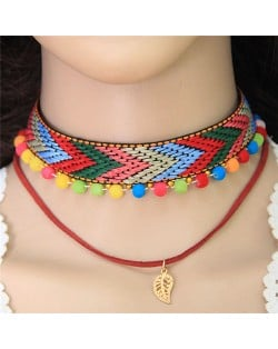 Golden Leaf Pendant Colorful Fluffy Mini Balls Mixed Color Arrow Pattern Weaving Fashion Choker Necklace