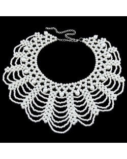 Weaving Pearls Sweet Collar Design Fashion Necklace
