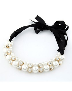 Shining Rhinestone and Pearl Combo Bowknot Silk Ribbon Costume Necklace