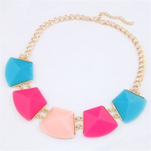 Trapezoid Resin Gems Design Short Costume Necklace - Multicolor