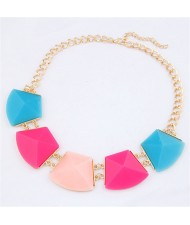Trapezoid Resin Gems Design Short Costume Necklace - Multicolor