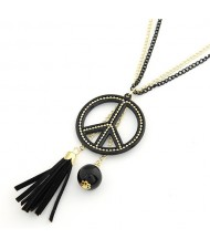 Peace Symbol Pendant with Tassel Design Long Fashion Necklace