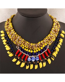 Beads and Multi-layer Weaving Design Bohemian Fashion Statement Necklace - Yellow