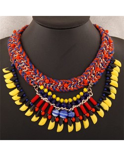 Beads and Multi-layer Weaving Design Bohemian Fashion Statement Necklace - Red