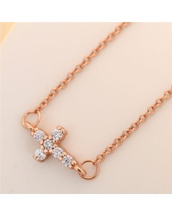 Cubic Zirconia Inlaid Horizontal Cross Pendant Fashion Necklace - Rose Gold