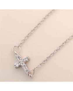 Cubic Zirconia Inlaid Horizontal Cross Pendant Fashion Necklace - Silver