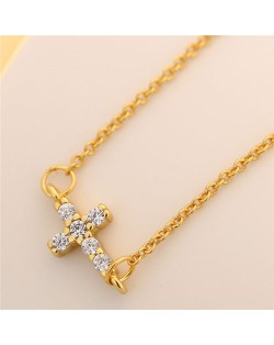 Cubic Zirconia Inlaid Horizontal Cross Pendant Fashion Necklace - Golden