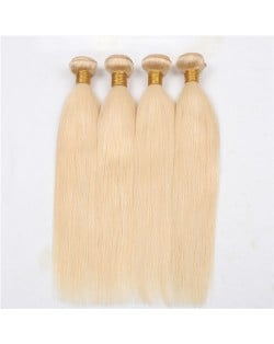 3 Pieces 100% Human Hair Blonde Color 613 Straight Ombre Brazilian Virgin Hair Weaves/ Wefts