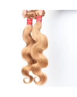 3 Bundles 100% Human Hair Color 27 Body Wave Brazilian Virgin Hair Weaves/ Wefts