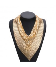 Bling bling Scarf Desigh Chunky Alloy Fashion Necklace - Golden