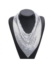 Bling bling Scarf Desigh Chunky Alloy Fashion Necklace - Silver