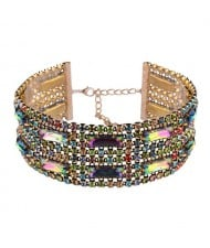 Colorful Gems Embellished Wide Fashion Choker Necklace