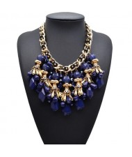 Chunky Fashion Beads and Petals Cluster Design Costume Necklace - Blue