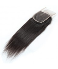 3 Pieces 7A Grade 100% Human Hair Straight Natural Color Brazilian Virgin Hair Lace Closure