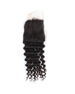 3 Pieces 7A Grade 100% Human Hair Deep Wave Natural Color Brazilian Virgin Hair Lace Closure