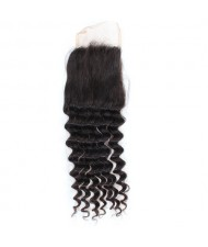 3 Pieces 7A Grade 100% Human Hair Deep Wave Natural Color Brazilian Virgin Hair Lace Closure