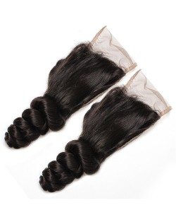 3 Pieces 7A Grade 100% Human Hair Loose Wave Natural Color Brazilian Virgin Hair Lace Closure