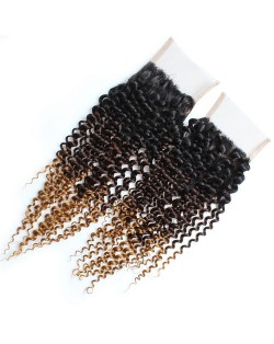 3 Pieces 7A Grade 100% Human Hair Kinky Curly T1B/4/27 Three Colors Brazilian Virgin Hair Lace Closure