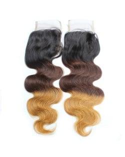 3 Pieces 7A Grade 100% Human Hair Body Wave T1B/4/27 Three Colors Brazilian Virgin Hair Lace Closure