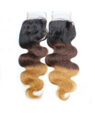 3 Pieces 7A Grade 100% Human Hair Body Wave T1B/4/27 Three Colors Brazilian Virgin Hair Lace Closure