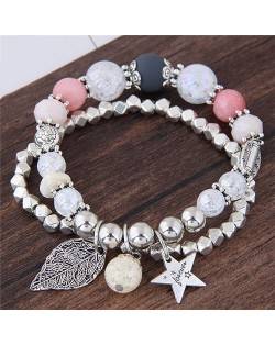 Leaf and Star Pendant Dual Layers Beads Fashion Bracelet