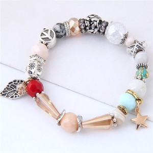 Peace Symbol with Leaf Pendant Multi-elements Beads Fashion Bracelet