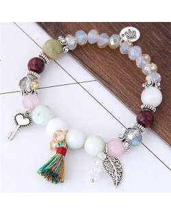 Crown Leaf Key and Cotton Threads Tassel Beads Fashion Bracelet