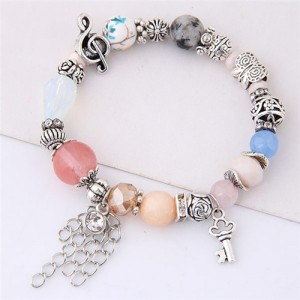 Musical Note Flower and Key Elements Beads Fashion Bracelet