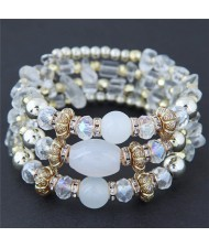 Bohemian Fashion Crystal and Artificial Turquoise Mixed Design Triple Layers Fashion Bracelet - White