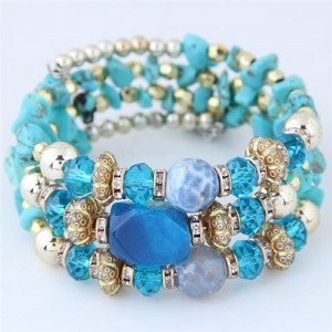 Bohemian Fashion Crystal and Artificial Turquoise Mixed Design Triple Layers Fashion Bracelet - Blue