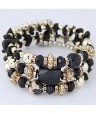 Bohemian Fashion Crystal and Artificial Turquoise Mixed Design Triple Layers Fashion Bracelet - Black