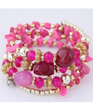 Bohemian Fashion Crystal and Artificial Turquoise Mixed Design Triple Layers Fashion Bracelet - Rose