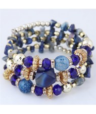 Bohemian Fashion Crystal and Artificial Turquoise Mixed Design Triple Layers Fashion Bracelet - Royal Blue